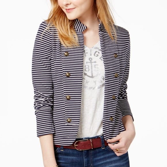 Tommy Hilfiger Jackets & Blazers - Tommy Hilfiger Striped Sailor Blazer, from Macy's